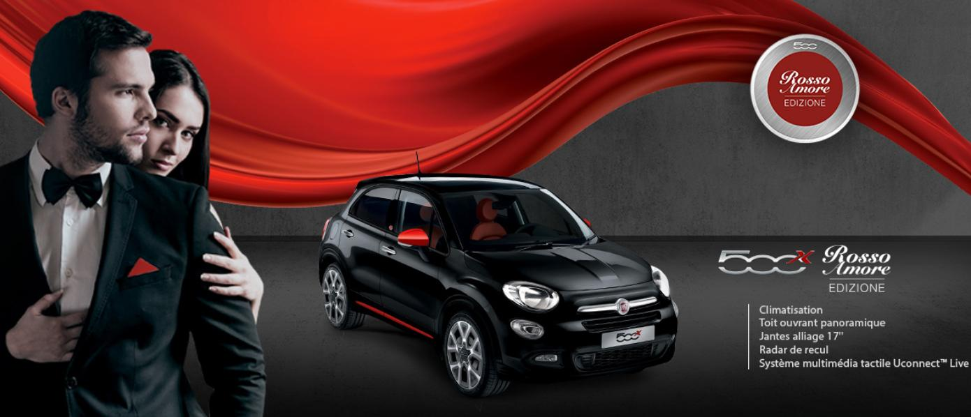 accueil fiat 500x rosso amore edizione groupe aubert. Black Bedroom Furniture Sets. Home Design Ideas
